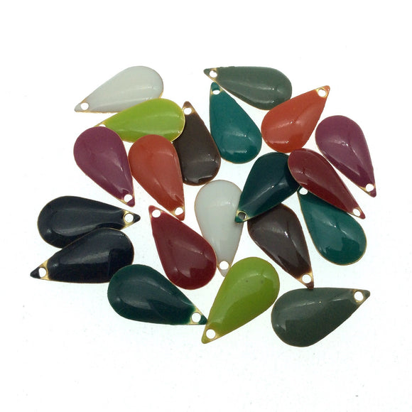BULK LOT of Twenty Assorted Teardrop Shape Two-Sided Beadlanta Enameled Brass Pendants/Charms - Approx. 10mm x 15mm, Two of Each Color