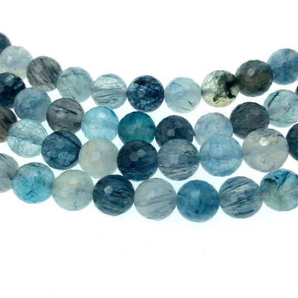 UNENHANCED/UNTREATED 8mm Natural Faceted Glossy Blue Rutilated Quartz Round Beads - Sold by 15