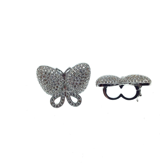 Silver Plated CZ Cubic Zirconia Inlaid Clear Butterfly Bolo Slide Copper - Measures 23mm x 28mm, Approx. - Sold Individually, RANDOM