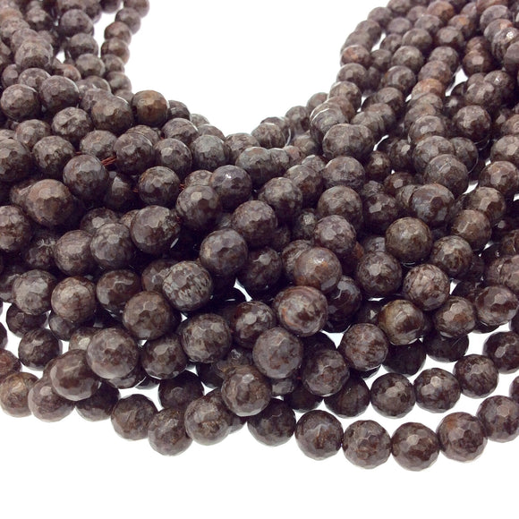 6mm Faceted Natural Brown Snowflake Jasper Round/Ball Shaped Beads with 1mm Holes - Sold by 15