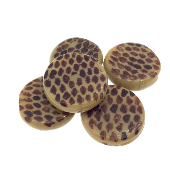 Hand Painted Animal Print Center-Drilled Tan Glass Bead - 28mm x 28mm approx - Sold by Packs of 10