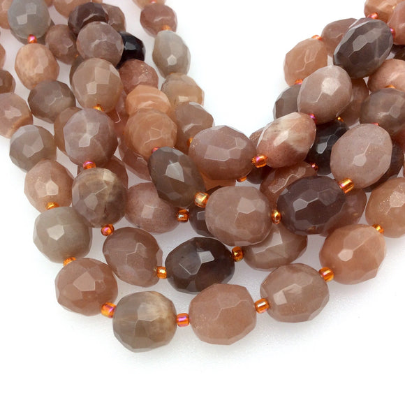 10-12mm x 13-15mm Faceted Mix Peach Moonstone Oval Nugget Shaped Beads with 1mm Holes - 15.5