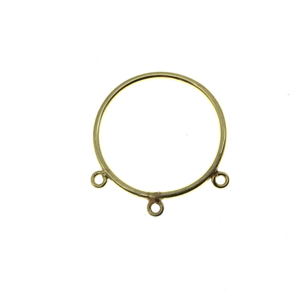 30mm Gold Finish Open Circle with Three Rings Shaped Plated Copper Connector Components - Sold in Packs of 10 Pieces - (661-GD)