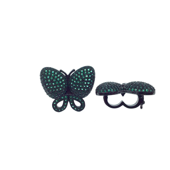 Gunmetal Plated CZ Cubic Zirconia Inlaid Green Butterfly Bolo Slide Copper - Measures 23mm x 28mm, Approx. - Sold Individually, RANDOM
