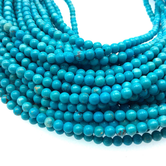 4mm Smooth Dyed Turquoise Blue Howlite Round/Ball Shaped Beads - Sold by 15.25