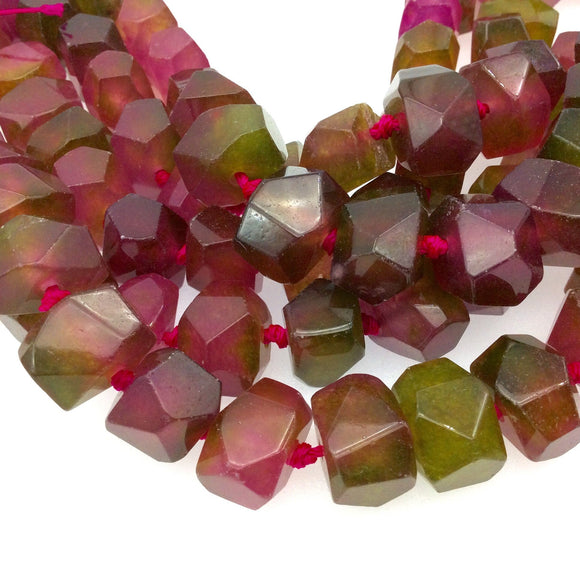 11-12mm x 15-17mm Faceted Dyed Pink/Green Watermelon Jade Nugget Beads - 16.5