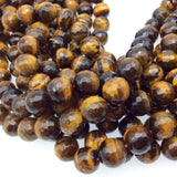 "10mm Faceted Golden Brown Tiger Eye Round/Ball Shaped Beads - 14.5"" Strand (Approx. 37 Beads) - Natural Hand-Strung Gemstone Bead Strand"