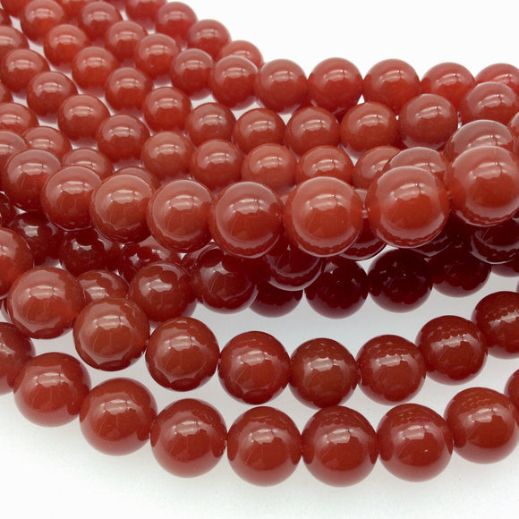 10mm Smooth Natural Orange/Red Carnelian Round/Ball Shaped Beads with 1mm Holes - Sold by 15