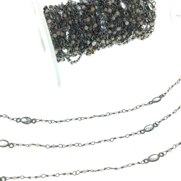 Gunmetal Plated Copper Rosary Chain with 2mm Mixed Moonstone Beads and 5mm Clear Hyrdro Quartz Marquise Bezels  - Sold by the Foot