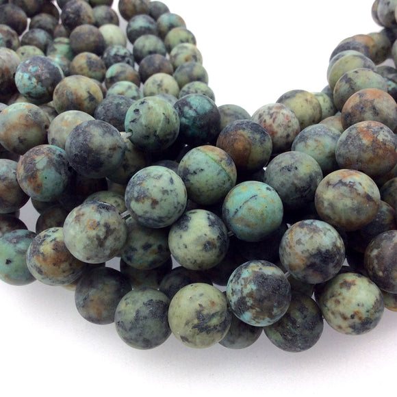 12mm Matte Finish Natural African Turquoise Jasper Round/Ball Shaped Beads with 1mm Holes - Sold by 15
