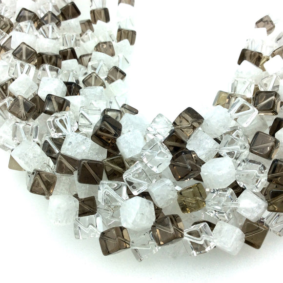 6mm x 6mm Smooth Mixed Quartz Cube Shaped Beads with 1mm Holes - 16