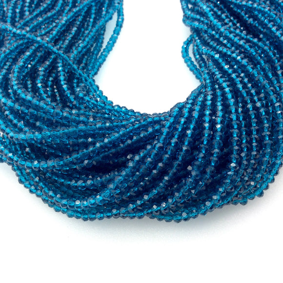 Chinese Crystal Beads | 3mm Faceted Transparent Teal Blue Chinese Crystal Rondelle Shaped Glass Beads