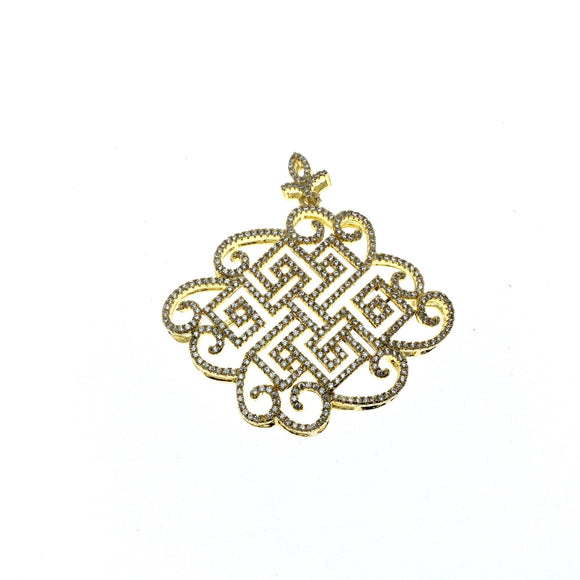 Gold Plated White CZ Cubic Zirconia Inlaid Flat Fancy/Ornate Open Knotted Swirl Shaped Copper Slider Pendant W Bail - Measuring 40mm x 50mm