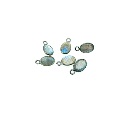 BULK LOT - Pack of Six (6) Gunmetal Sterling Silver Pointed/Cut Stone Faceted Oval Shaped Labradorite Bezel Pendants - Measuring 5mm x 7mm