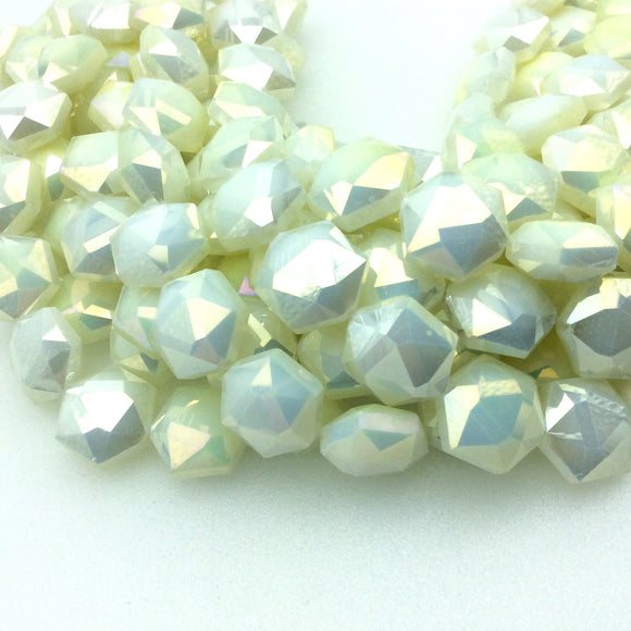 Chinese Crystal Beads | 14mm x 14mm Glossy Faceted Opaque Light Lemonade Yellow Hexagon Glass Beads