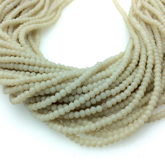Chinese Crystal Beads | 3mm Matte Finish Faceted Opaque Light Ivory Cream Rondelle Shaped Glass Beads