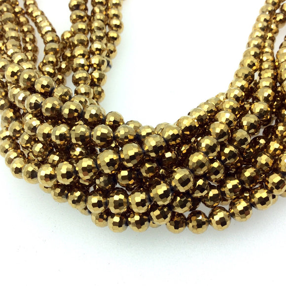 Chinese Crystal Beads | 6mm Glossy Finish Faceted Opaque Gold Crystal Round Ball Shaped Glass Beads