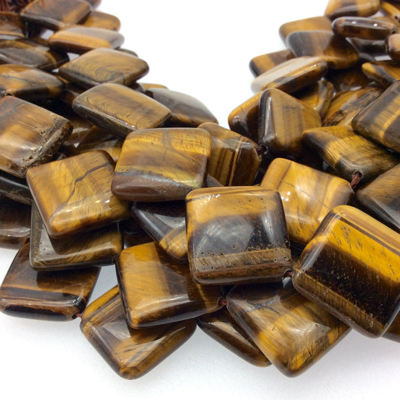 Smooth Tiger Eye Flat Diamond Shaped Beads - Measuring 18mm x 18mm - 16