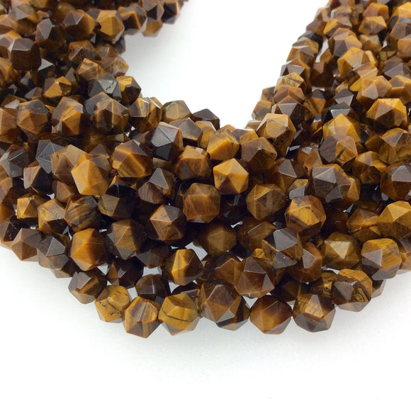 8mm Faceted Yellow Tiger Eye Lantern Shape Beads - 14.5