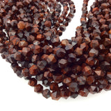 "8mm Faceted Red Tiger Eye Lantern Shape Beads - 14.5"" Strand (Approximately 50 Beads) - Natural Hand-Strung Gemstone Bead Strand"