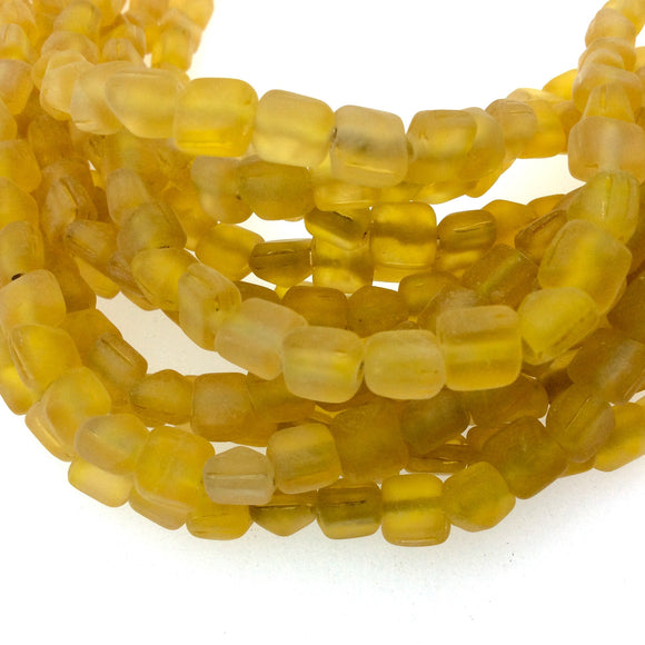 8mm Matte Yellow Pyramid Shaped Indian Beach/Sea Beadlanta Glass Beads - Sold by 15