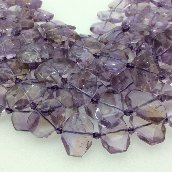 15mm x 20mm Glossy Finish Pale Amethyst Faceted Rectangle Shaped Beads with 1mm Holes - 15