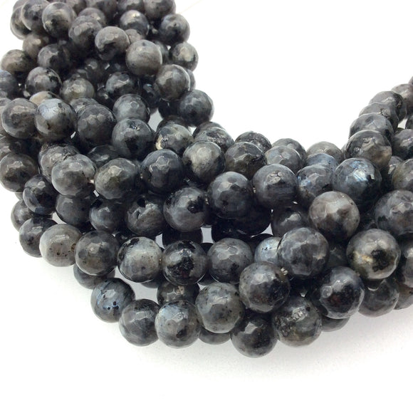 8mm Faceted Dyed Mottled Charcoal Gray Natural Jade Round/Ball Shaped Beads with 1mm Beading Holes - Sold by 15.25
