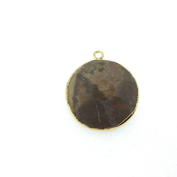 Medium Gold Electroplated Eagle Eye Agate Faceted Round/Coin Shaped Pendant - Measures 30-35mm approx. - Sold Individually, Random