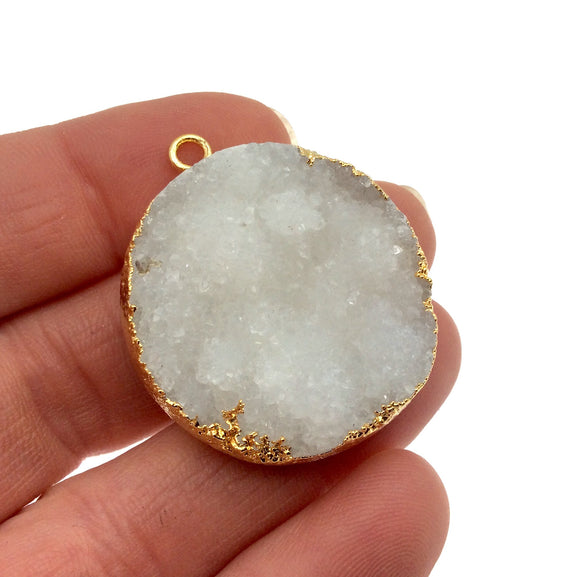 Medium Gold Electroplated Natural Druzy Agate Faceted Round/Coin Shaped Pendant - Measures 22-30mm approx. - Sold Individually, Random