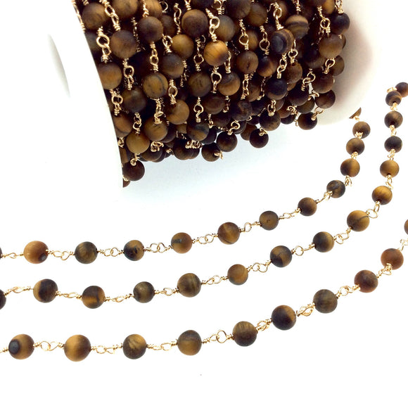 Gold Plated Copper Rosary Chain with 6mm Matte Round Tiger Eye Beads - Sold by the Foot! (CH298-GD) - Semi-Precious Beaded Chain