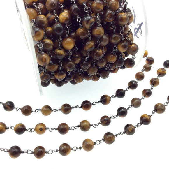 Gunmetal Plated Copper Rosary Chain with 6mm Round Tiger Eye Beads - Sold by the Foot! (CH296-GM) - Natural Semi-Precious Beaded Chain