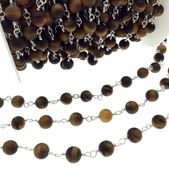 Silver Plated Copper Rosary Chain with 8mm Matte Round Tiger Eye Beads - Sold by the Foot! (CH400-SV) - Natural Semi-Precious Beaded Chain