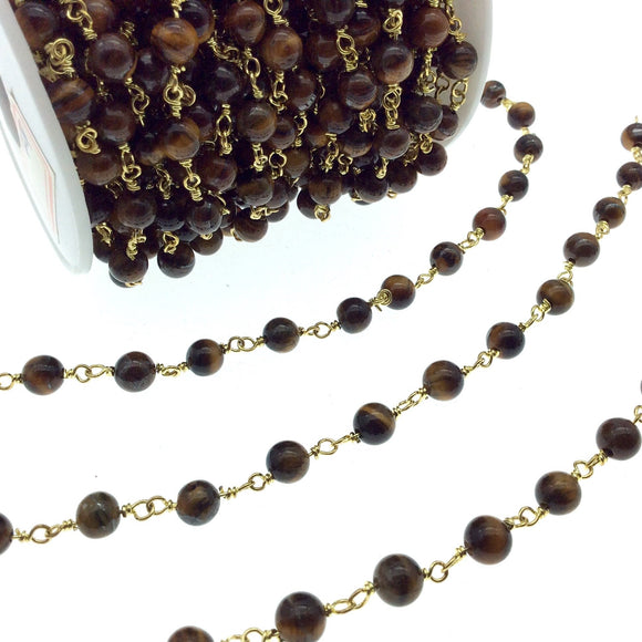 Gold Plated Copper Rosary Chain with 6mm Round Tiger Eye Beads - Sold by the Foot! (CH296-GD) - Natural Semi-Precious Beaded Chain