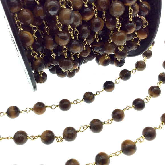 Gold Plated Copper Rosary Chain with 8mm Round Tiger Eye Beads - Sold by the Foot! (CH399-GD) - Natural Semi-Precious Beaded Chain