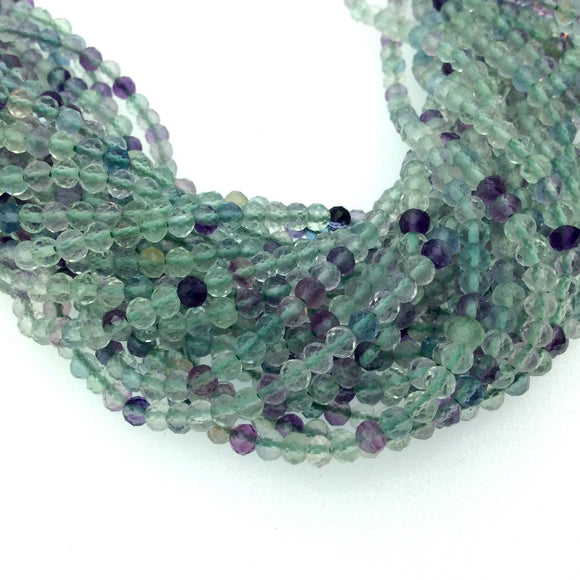Holiday Special! 3mm x 3mm Faceted Natural Rainbow Fluorite Round Beads - 13