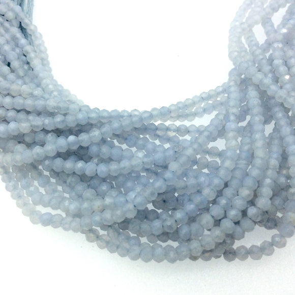 Holiday Special! 2-3mm x 2-3mm Faceted Blue Lace Agate Rondelle Beads - 13