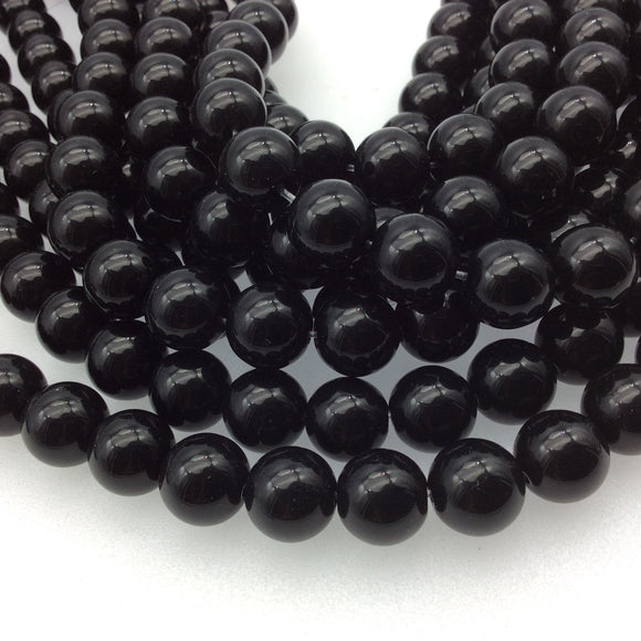 12mm Smooth Glossy Finish Natural Jet Black Agate Round/Ball Shaped Beads with 1mm Holes - Sold by 13.75