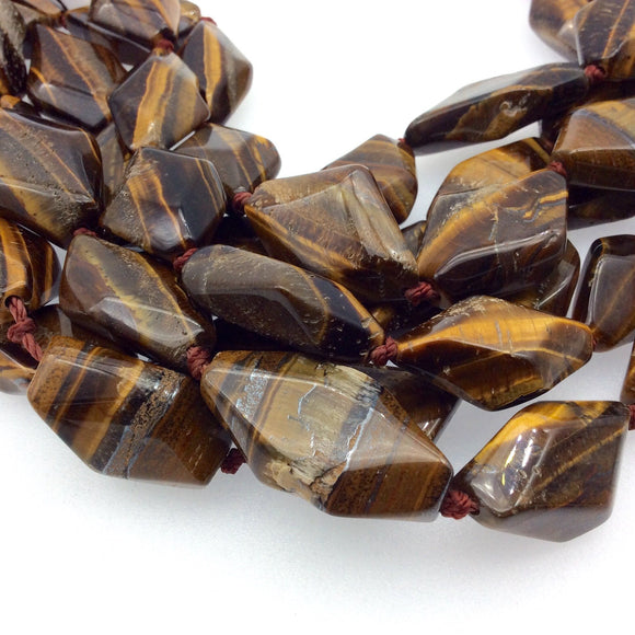 Faceted Rustic Golden Brown Tiger Eye Freeform Diamonds Shaped Beads ~16mm x 28mm - 15.75