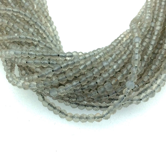 Holiday Special! 2-3mm x 2-3mm Faceted Mystic Natural Gray Moonstone Rondelle Beads - 13