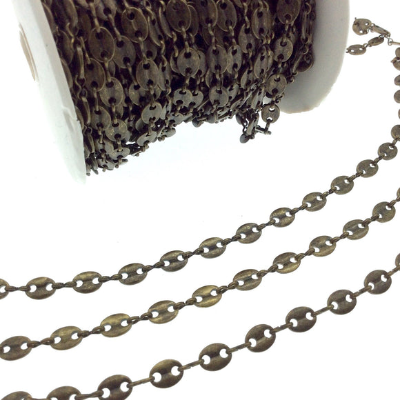 Brass Oval Disc and Link Chain - 8mm Oval With Connectors - Sold By the Foot!
