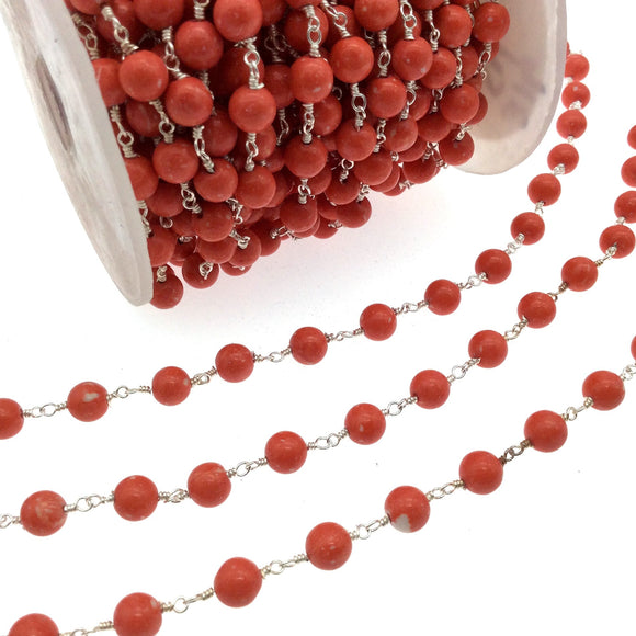 Silver Plated Copper Rosary Chain with 6mm Round Shaped Syn. Coral Beads (CH316-SV)- Sold by the Foot Only - Natural Beaded Chain