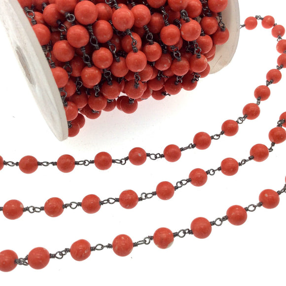 Gunmetal Plated Copper Rosary Chain with 6mm Round Shaped Syn. Coral Beads (CH316-GM)- Sold by the Foot Only - Natural Beaded Chain