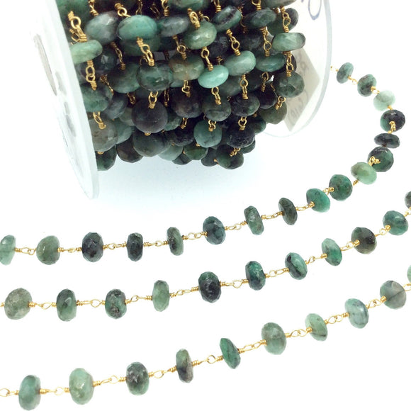 Gold Plated Copper Wrapped Rosary Chain with 3-4mm Faceted Natural Sakota Emerald Rondelle Beads - Sold by 1' Cut Sections!