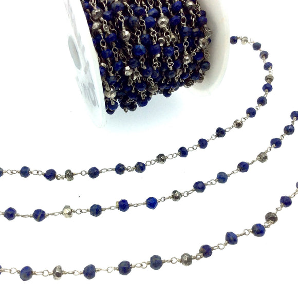 Silver Plated Copper Wrapped Rosary Chain W 3-4mm Faceted Natural Lapis and Metallic Pyrite Rondelle Shape Beads - Sold by 1' Cut Sections