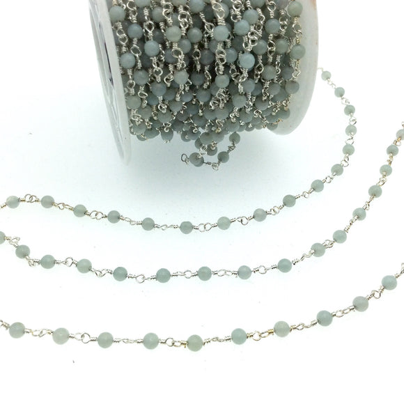 Silver Plated Copper Wrapped Rosary Chain with 3mm Natural Pale Amazonite Round Shaped Beads - Sold by 1' Cut Sections