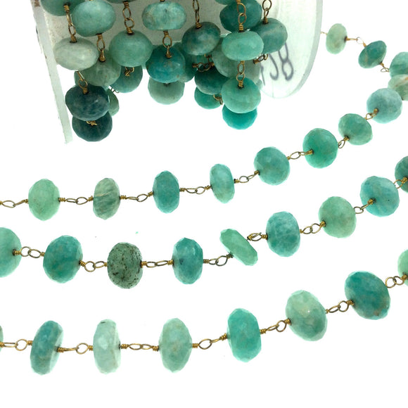 Gold Plated Copper Wrapped Rosary Chain with 10mm Faceted Natural Amazonite Rondelle Shaped Beads - Sold by 1' Cut Sections or in Bulk!