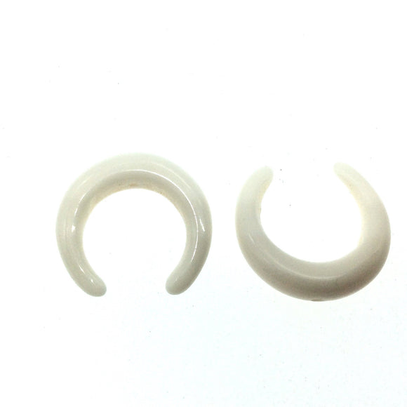 21mm x 21mm Snow White Tiny Double Ended Crescent Shaped Acrylic Resin Focal Bead with 1mm Hole - Sold Individually
