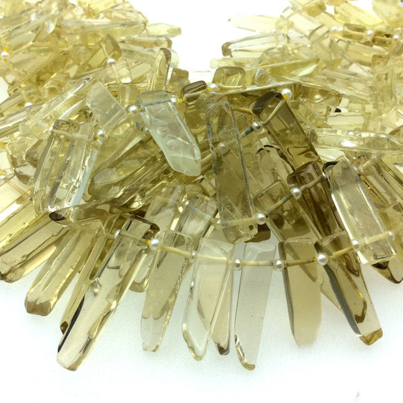 Graduated Lemon Citrine Flat Stick Beads - 16.5