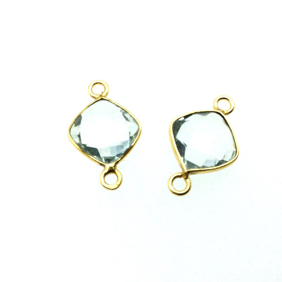 Gold Finish Faceted Diamond Shaped Glacier Green Quartz Bezel Connector (two rings) - Measures 9mm x 9mm - Natural Semi-precious Gemstone