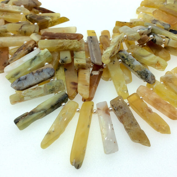 Graduated Yellow Opal Flat Stick Beads - 16.5